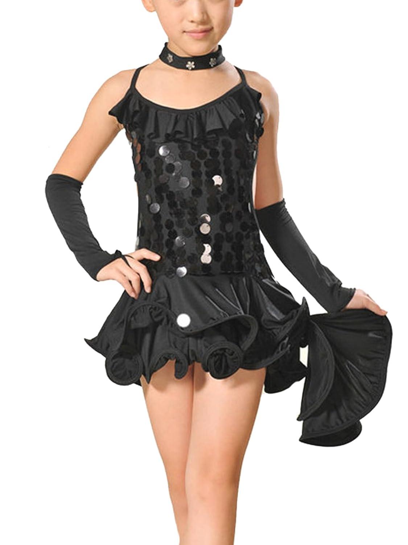b942ea57cd0b6 Feoya - Robe Costume Latino Fille Robe Danseuse Salsa Leotard Robe Danse  Irrégulière Robe à Bretelles Agrandir l image