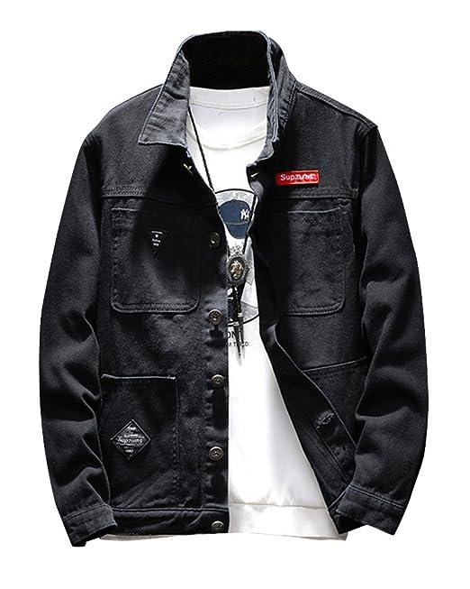 Giubbotto di jeans uomo nero denim casual giacca giubbino