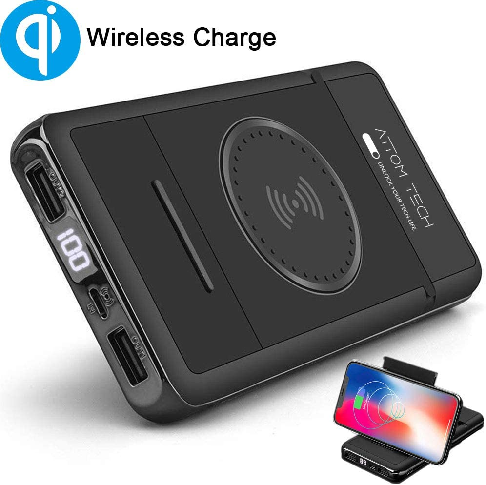 Amazon Com Wireless Charger Power Bank With Phone Stand Tomorotec 10000mah Qi Wireless External Battery Pack Bank Portable Charger Compatible With Galaxy S8 S7 S6 Edge Iphone 12 Xs Xr X 8 8 Plus Nexus Htc Nokia