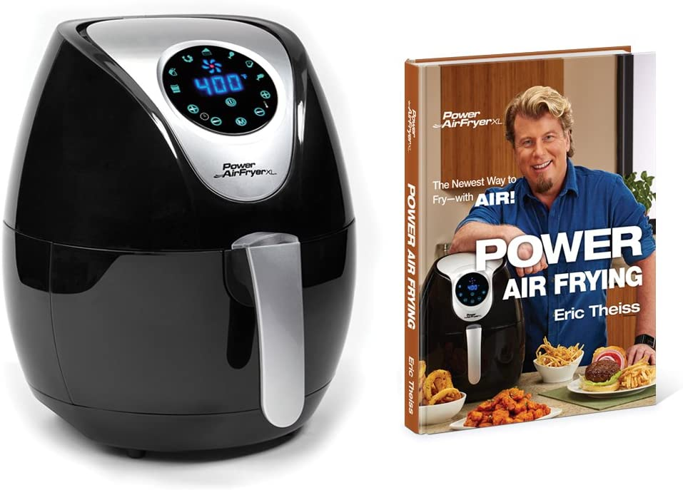 Power AirFryer XL 3.4 Quart Deluxe with Power Air Frying Hardcover Cookbook by Eric Theiss Black