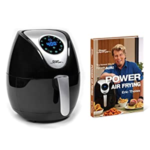 Power AirFryer XL 752356820411 Deluxe Fryer XL 3.4 Qt with Power Air Frying Hardcover Cookbook by Eric Theiss, Black