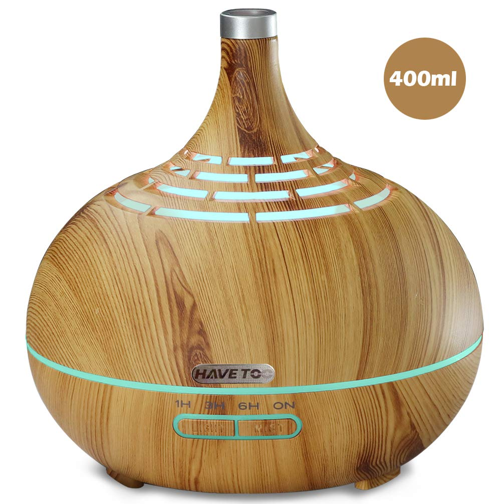 Essential Oil Diffuser Wood Grain Awarded Very Good Result For Fitness For User/Performance in Germany TUV Quality Lab For Hight End With Timer And 7 color LED Light With Waterless Off (Light brown) by HAVETOO
