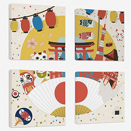 4 Pcs/set Modern Painting Canvas Prints Wall Art For Home Decoration Lantern Print On Canvas Giclee Artwork For Wall DecorJapanese Inspired Commercial Pattern Various Asian Culture Items Cool Cat (Cool Cat Giclee Pattern)