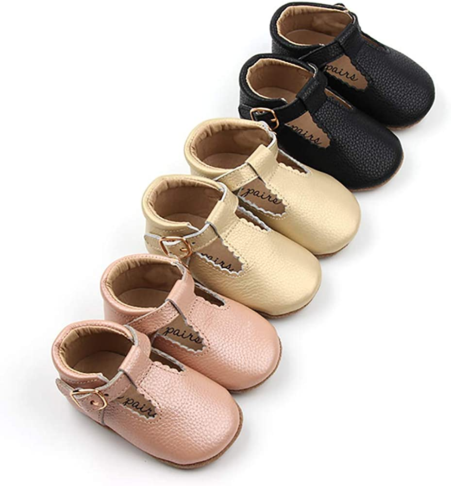 Picki Pairs Abby Mary Jane Baby Girls T-Bar T-Strap Moccasins Sandals Soft Sole Leather