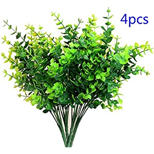 AngleLife Artificial Shrubs, 4pcs Fake Plastic Greenery Plants Eucalyptus Leaves Bushes Flowers Filler Indoor Outside Home Garden Office Verandah Decoration 1