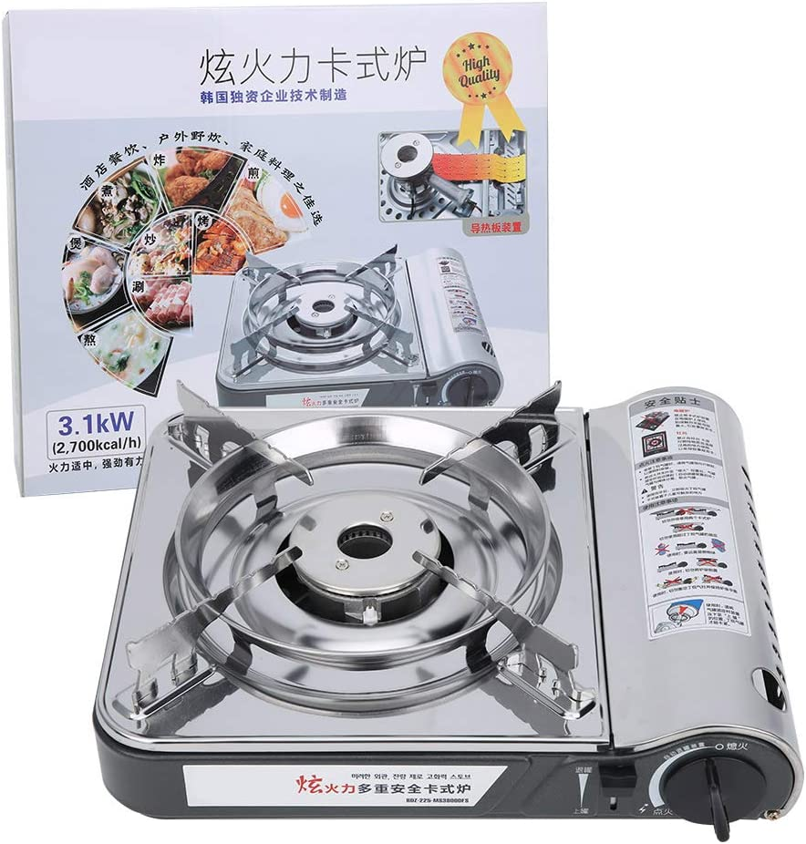 Yosoo MS‑3800DFSB Gas Stove, Portable Windproof Butane Gas Stove for Outdoor Camping Cookin,5 Minutes Boil Water,Silver