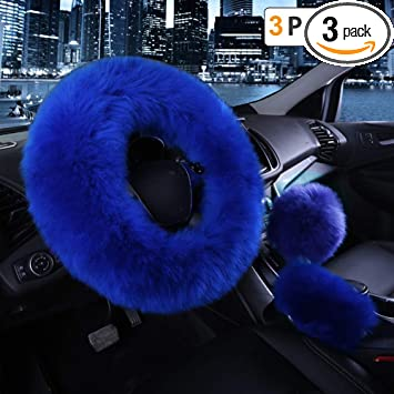 3pcs Fur Car Steering Wheel Cover Mature Gem Blue Wool Furry Fluffy Thick Winter