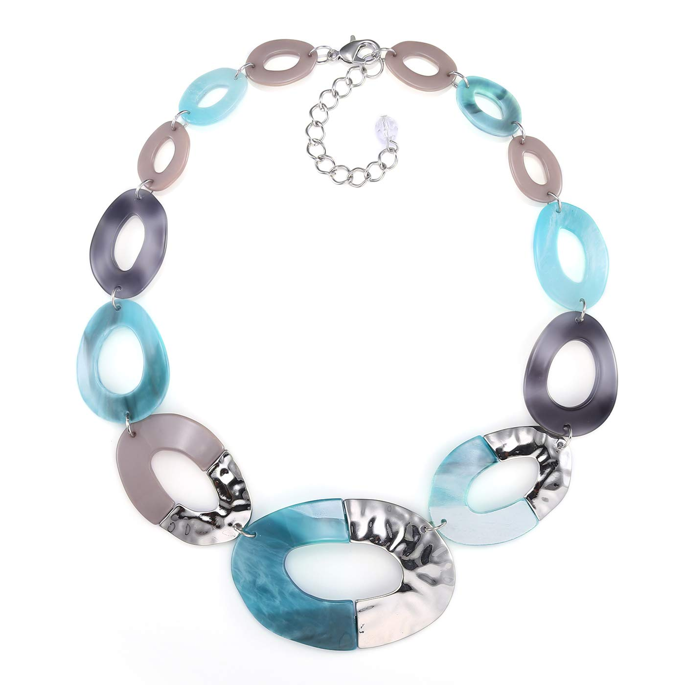 FAMARINE Statement Collar Necklace, Aqua Bohemia Chunky Resin Metal Chain Necklace for Women Jewelry by FAMARINE