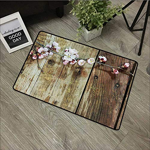 (Bathroom Door mat W35 x L47 INCH Rustic,Stained Walnut Branch with Soft Twiggy Swirling Flowers Leaves Cottage Life Concept,Pink Brown Non-Slip, with Non-Slip Backing,Non-Slip Door Mat Carpet)