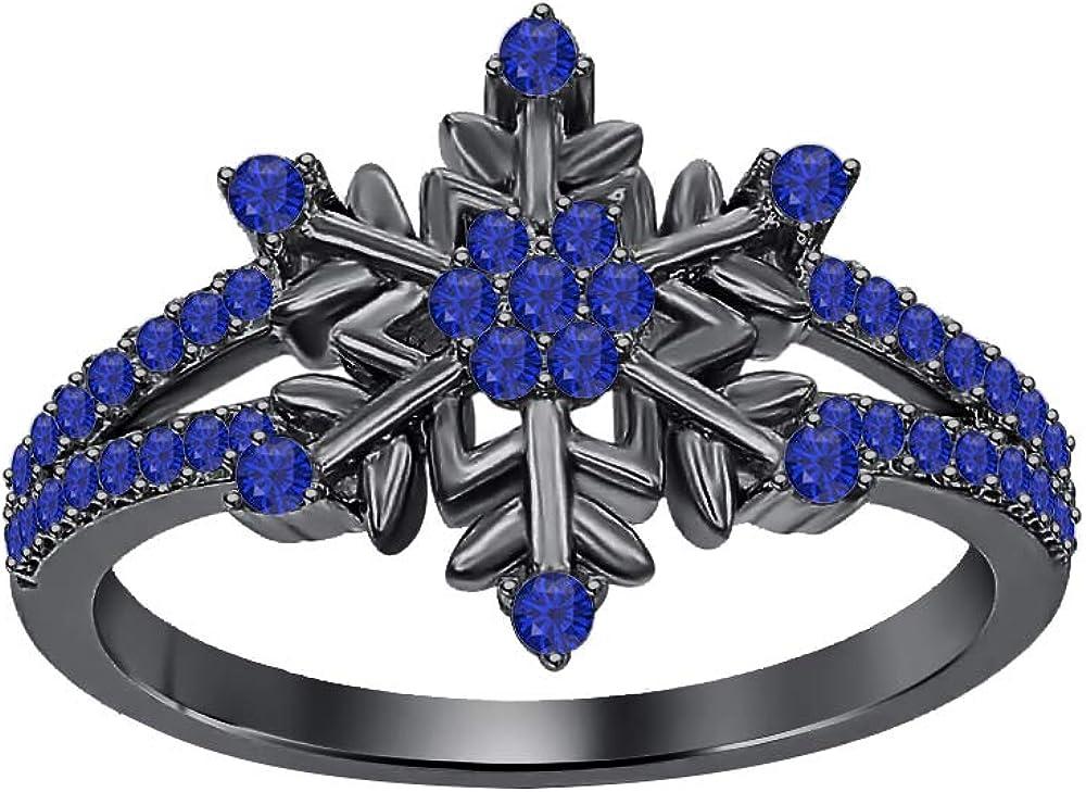 tusakha Beautiful 14K Black Gold Plated Round Gemstone Split Shank Flower Design Snowflake Ring 925 Sterling Silver
