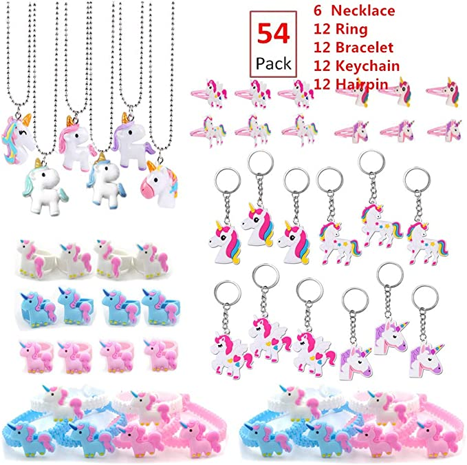 Keychains Unicorn Party Supplies Birthday Decorations with Unicorn Masks Bracelets Rings Tattoos and Goodie Bags 144 Pack Unicorn Party Favors for Kids Perfect Unicorn Gifts Carnival Prizes for Girls