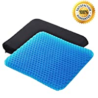 Gel Seat Cushion,1.65inch Double Thick Egg Seat Cushion,Non-Slip Cover,Help In Relieving Back Pain & Sciatica Pain,Seat Cushion for The Car,Office,Wheelchair&Chair.Breathable Design,Durable,Portable