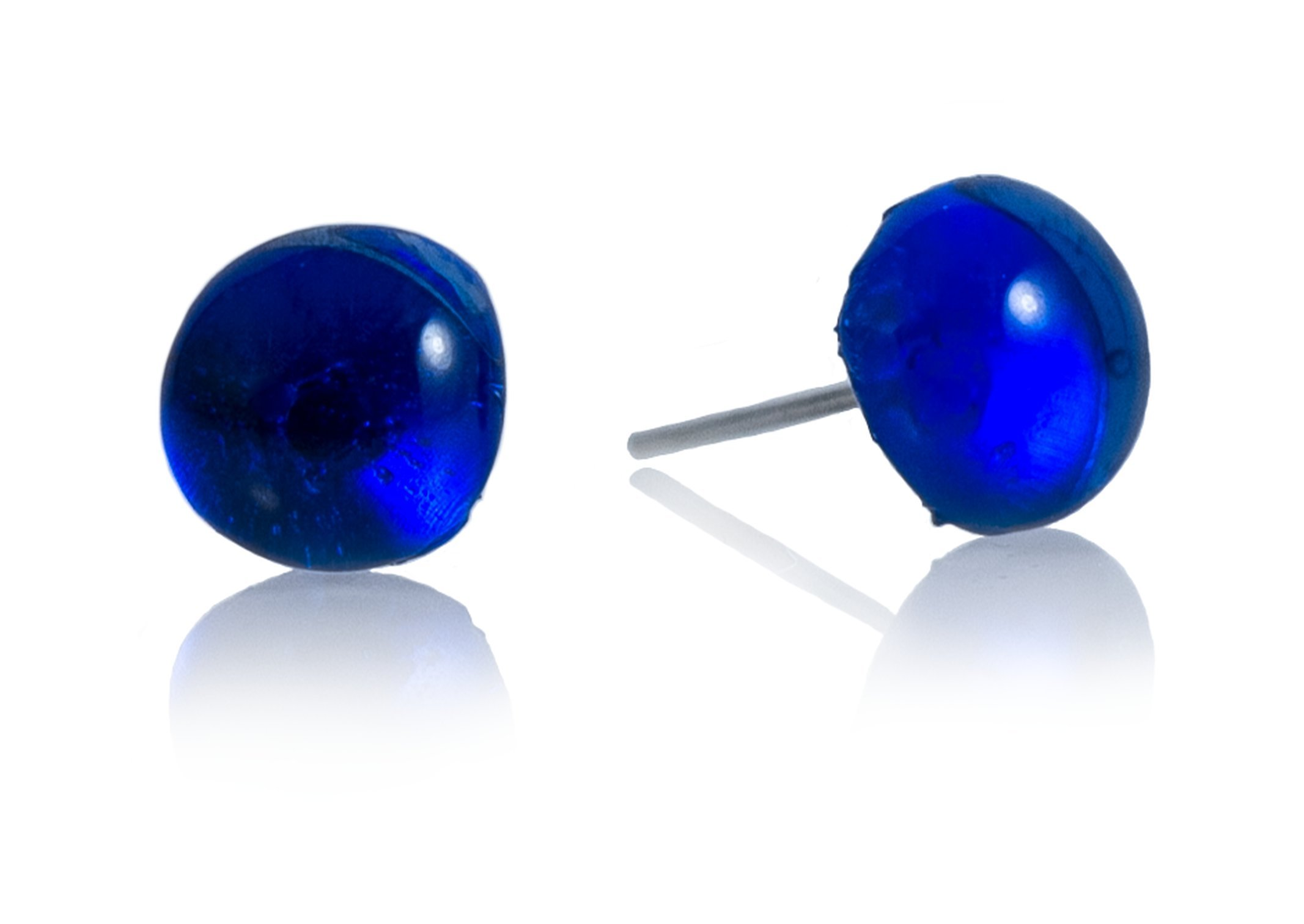 Recycled Glass Ball Stud Earrings by Moneta Jewelry (Blue)
