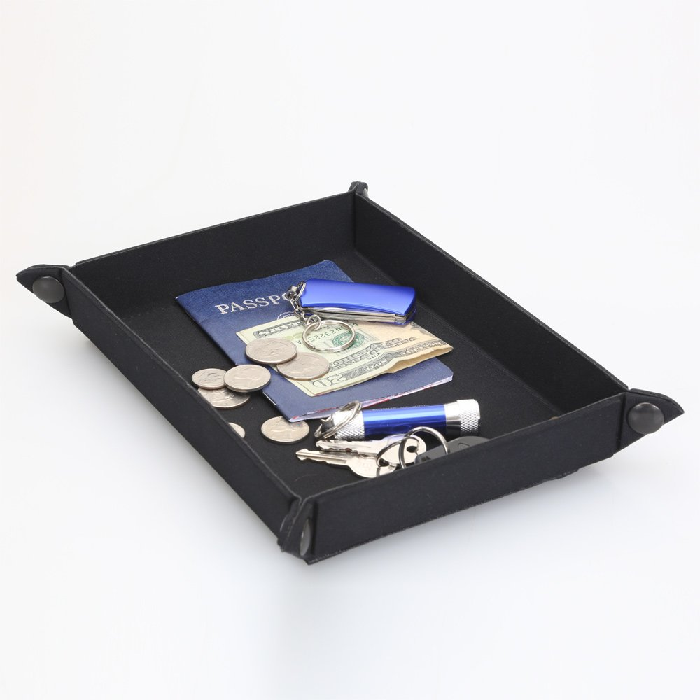 Surf To Summit Collapsible Travel Tray Black Jewelry Nightstand Tray Collapsible Travel Tray Storage Portable Kids Wallet Cell Phone Money Keys Passport Documents Organizer Business Traveling