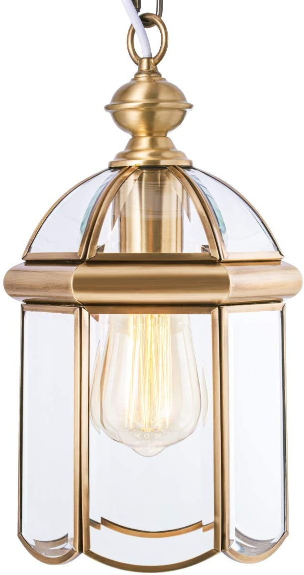 Outdoor Brass Hanging Light Fixtures, Waterproof Pendant Lighting Exterior Light Ceiling Porch Light, Chain Adjustable with Clear Glass Gold Outside Lights for House Entryway Yard Doorway Kitchen