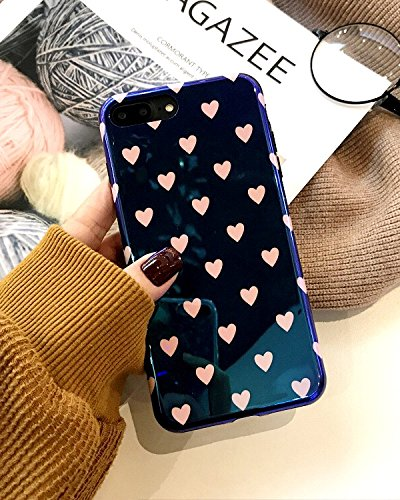 [CaserBay] iPhone Case Trendy Aurora Gradient Blue Light Glossy Look Reflective Flexible TPU Soft Phone Case (Heart/Black, For iPhone 8 Plus/iPhone 7 Plus 5.5