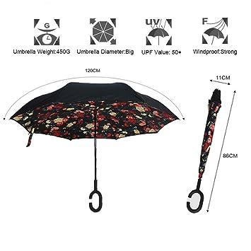 Doble capa de paraguas invertido protección contra el viento ultravioleta gran protección recta con mango en