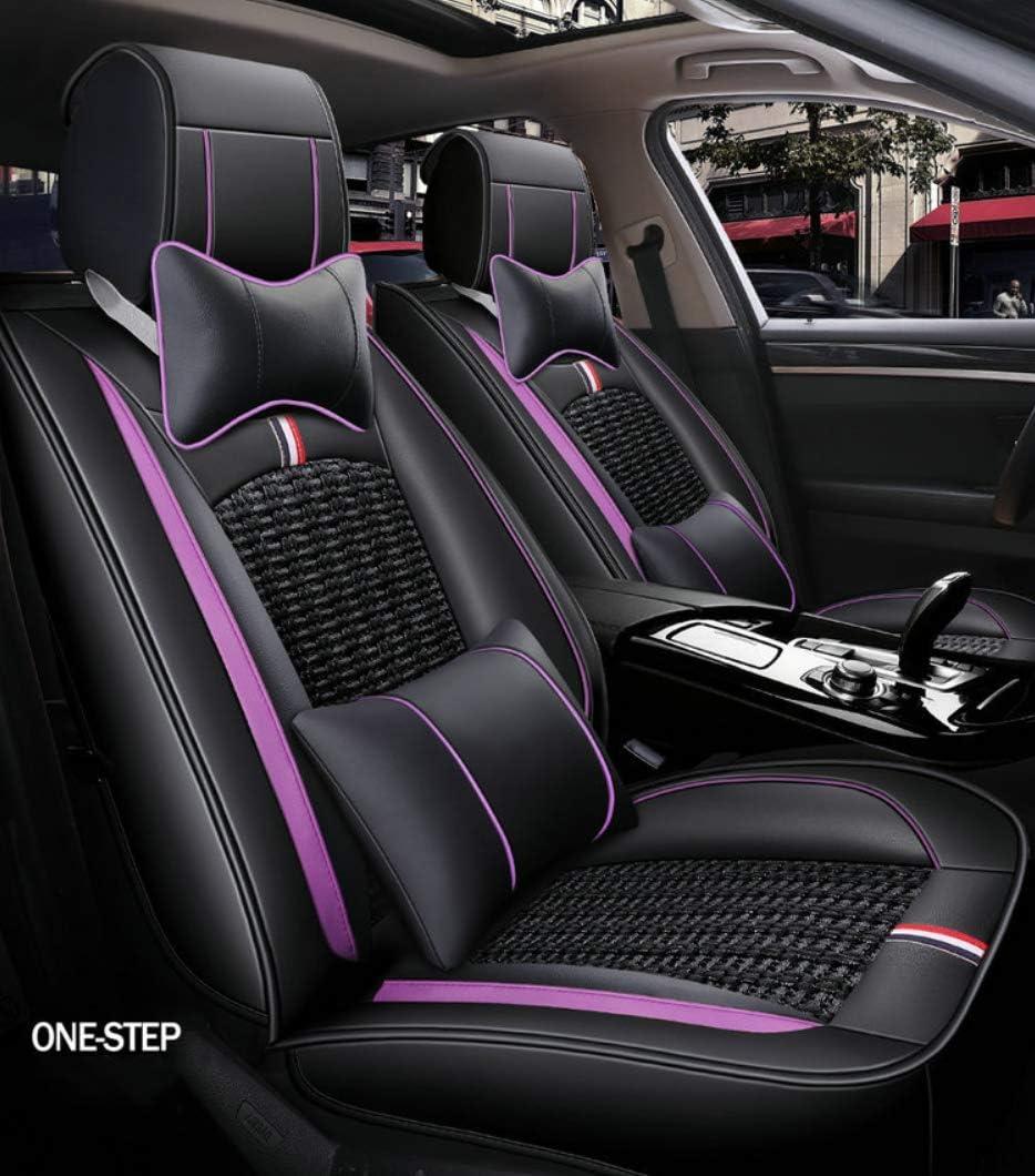 Mawa Autositzbezüge Leder 5 Sitzer Auto Universal Leder Motion Voller Satz Von Vier Jahreszeiten Pad Kompatibel Mit Airbag Kissen Farbe Schwarz Lila Black Purple Auto