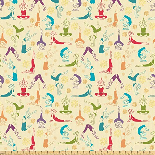 Lunarable Doodle Fabric by The Yard, Workout Fitness Girls in Different Yoga Pilates Positions Health Wellness Gymnastics, Microfiber Fabric for Arts and Crafts Textiles & Decor, 1 Yard, Multicolor from Lunarable