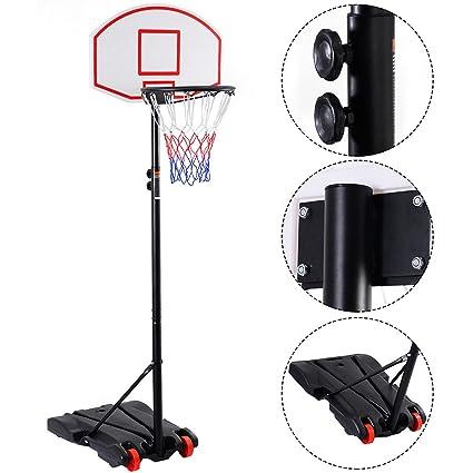 Adjustable Basketball Hoop System Stand Kid Indoor Outdoor Net Goal w// Wheels
