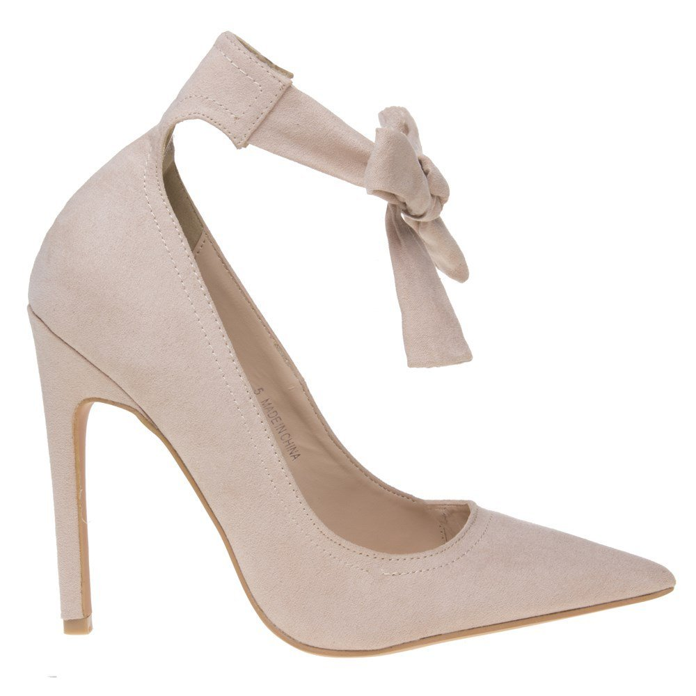 New Womens Public Desire Nude Muse Synthetic Shoes Court Straps