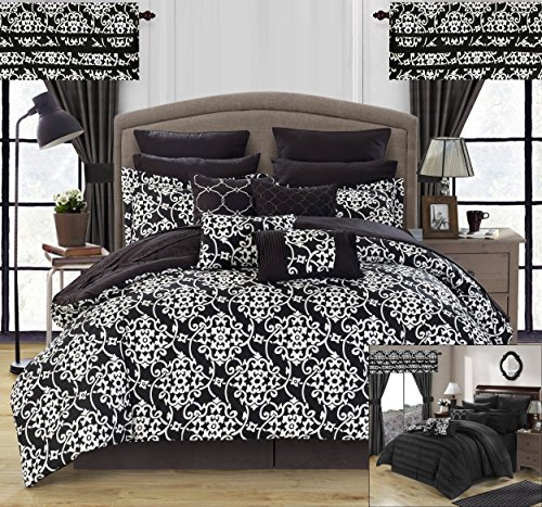 Perfect Home 24 Piece Orinda Complete Pleated ruffles and Reversible Printed Queen Bed In a Bag Comforter Set with window treatement, Black. Sheets Included by Perfect Home (Image #1)