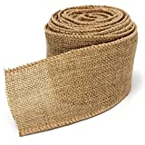 5M Home Decoration Natural Linen Wedding Party Burlap Wreath Jute Burlap Ribbon Lace Craft Gift Wrap Rustic Fabric Supplies (Yellowish brown)
