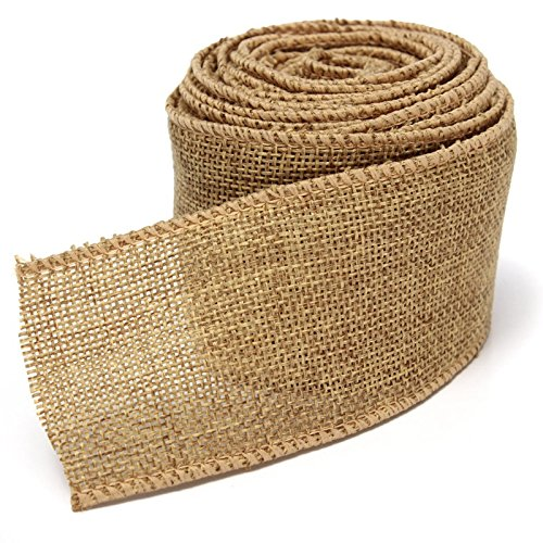 5M Home Decoration Natural Linen Wedding Party Burlap Wreath Jute Burlap Ribbon Lace Craft Gift Wrap Rustic Fabric Supplies (Yellowish brown) by homesky