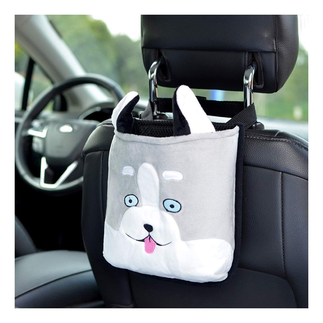ZYLE Car Rear Seat Storage Bag Fixing Bag Accessories Cartoon Animal Embroidery Storage Bag (Color : D)
