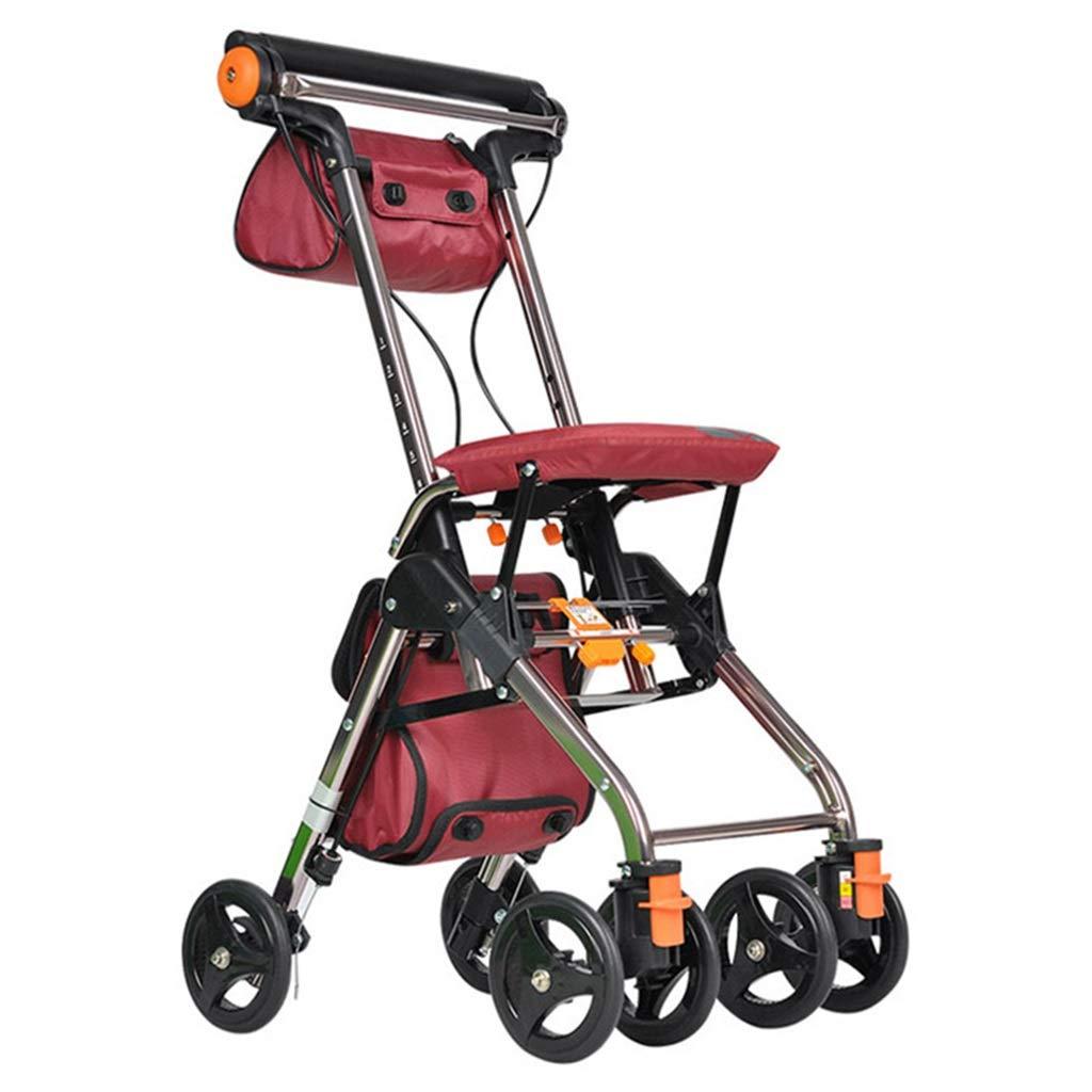 ウォーカーショッピングカート松葉杖軽量ウォーカー購入食品トラック折りたたみポータブルショッピングカート高齢者用四輪トロリー重量100kg最高の贈り物 (Color : RED, Size : 46*56.5*76CM) B07S98QS51 RED 46*56.5*76CM