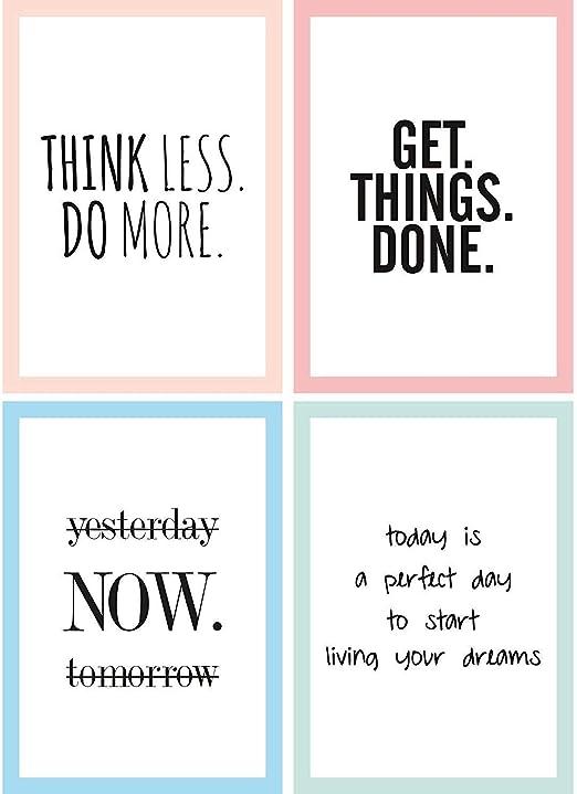 Cupcakes Kisses 4er Motivation Poster Sparset I Motivierende Zitate Sprüche I Hochformat I Din A4 I Quote I In Schwarz Und Weiß Mit Buntem Rahmen