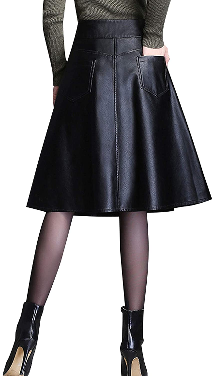 eb138ab0e29 chouyatou Women s Graceful A-Line Flare Pleated Faux Leather Midi Skirt  with Pocket at Amazon Women s Clothing store