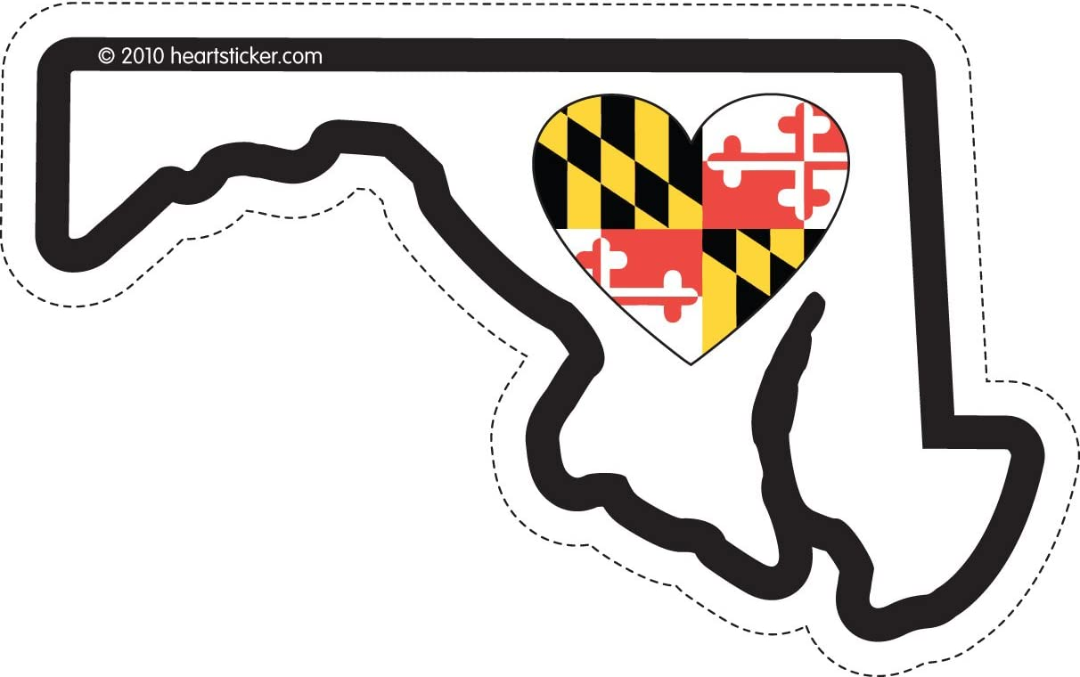 Maryland Sticker Md State Shaped Decal Vinyl Heart Heart Apply To Water Bottle Laptop Cooler Car Truck Bumper Tumbler Baltimore Flag Crab 301