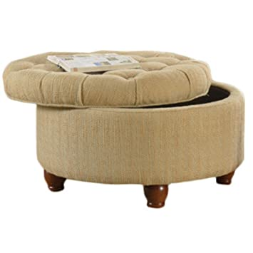 Charmant HomePop Round Button Upholstered Storage Ottoman