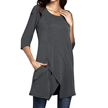 5ba2355901f213 Women Pullover Blouse Plus Size Long Sleeve Solid Tailoring O-neck ...