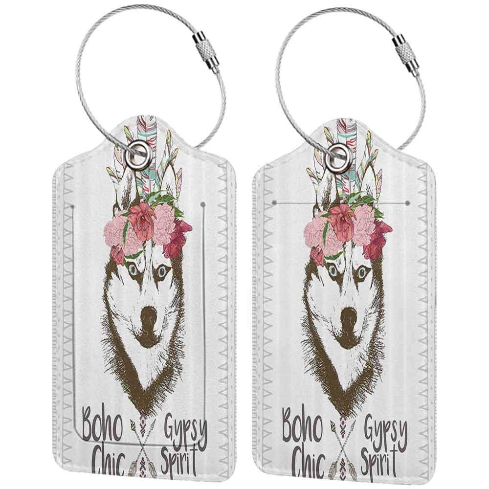 Decorative luggage tag Feather House Decor Aztec Floral Head Portrait of Siberian Husky Dog Tribal Arrow Kitsch Image Suitable for travel Multi W2.7 x L4.6