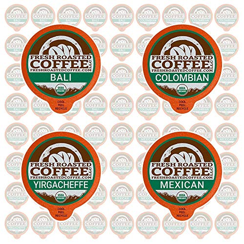 (Fresh Roasted Coffee LLC, Single-Origin Coffee Pod Variety Pack, USDA Organic, Compatible with 1.0 / 2.0 Single-Serve Brewers, 72 Count)