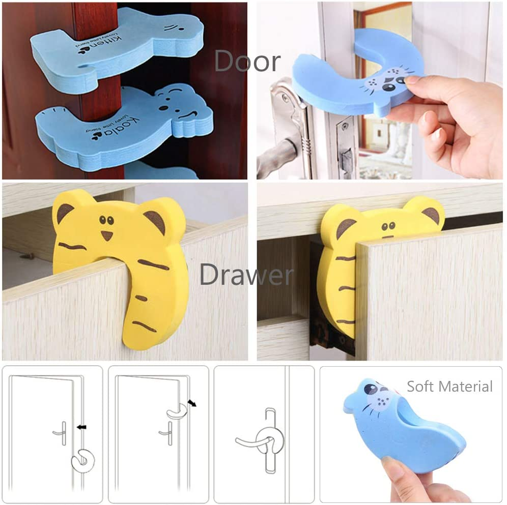16 Socket Safety Covers 10 Corner Protectors 38pcs Baby Safety Protection Set 6 Door Stopper Guards 6 Safety Cabinet Locks Kaxich Child Proofing Kit