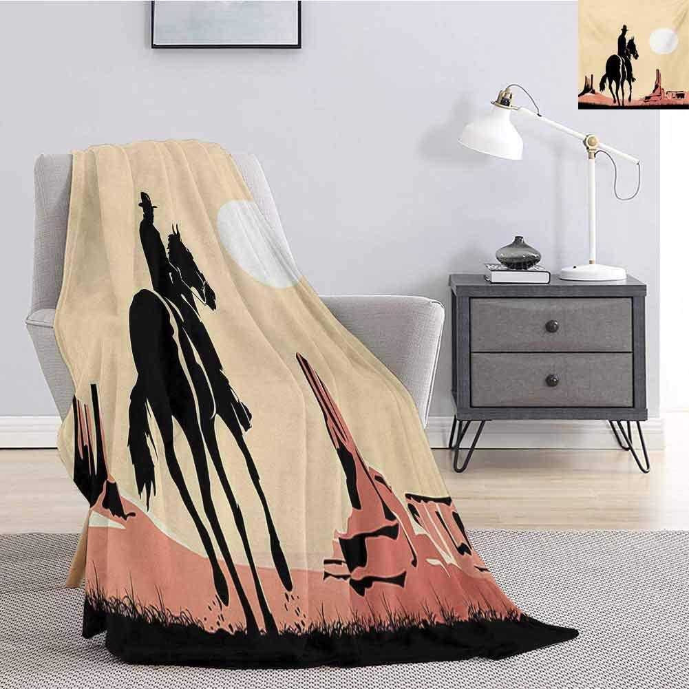 Tr.G Western Children's Blanket Image Art of Cowboy Riding Horse Towards Sunset in Wild West Desert Hero Lightweight Soft Warm and Comfortable W55 x L55 Inch Yellow Orange Black