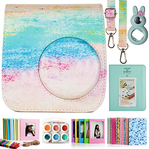 CAIUL Compatible Mini 7s Case Bundle with Album, Filters & Accessories for Fujifilm Instax Mini 7s and Polaroid PIC-300 (Rainbow Mist, 7 Items)
