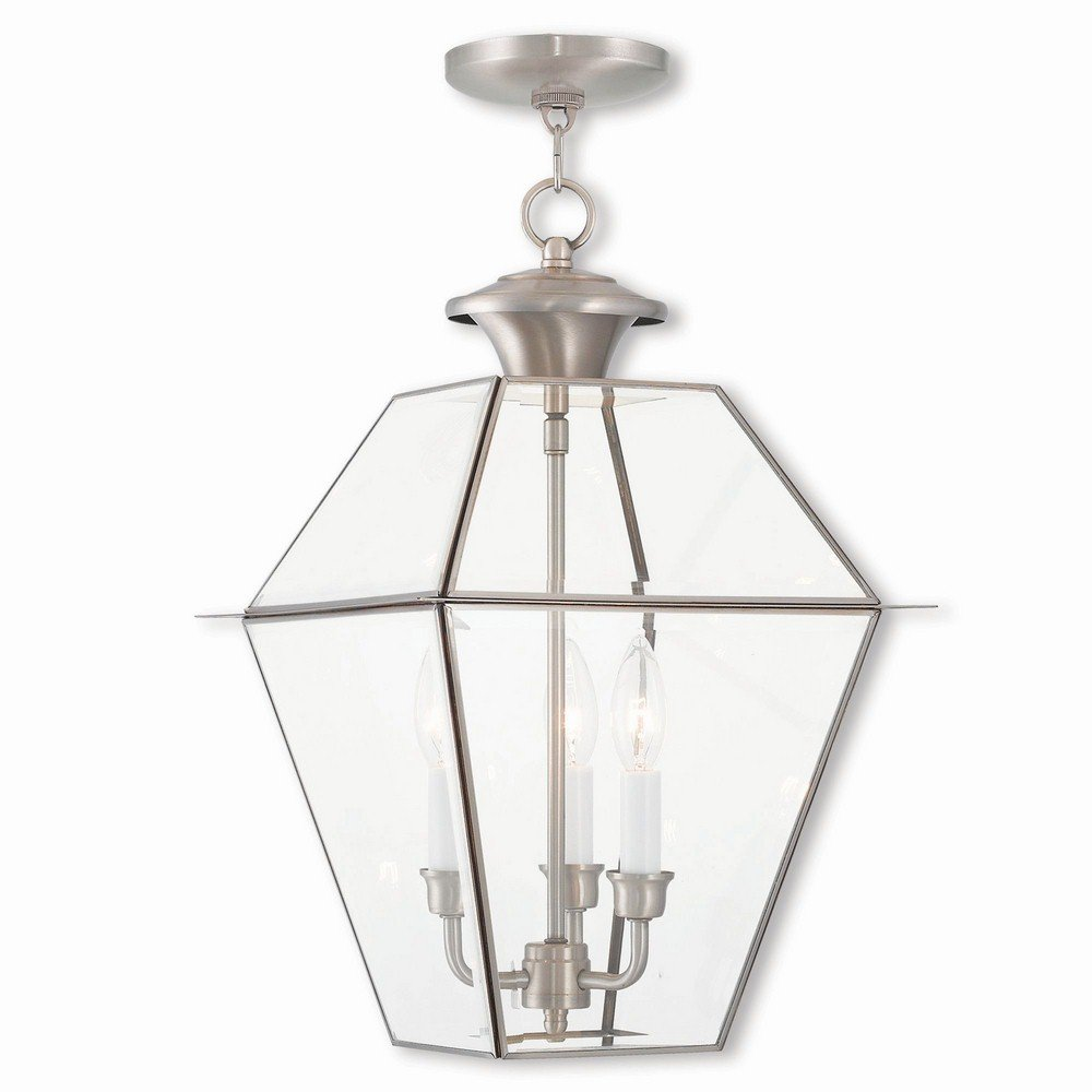 Livex Lighting 2385-91 Westover 3 Light BN Outdoor Chain-Hang Lantern, Brushed Nickel by Livex Lighting
