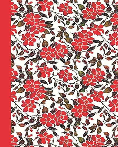 Journal: Red Flower Watercolor 8×10 – LINED JOURNAL – Writing journal with blank lined pages