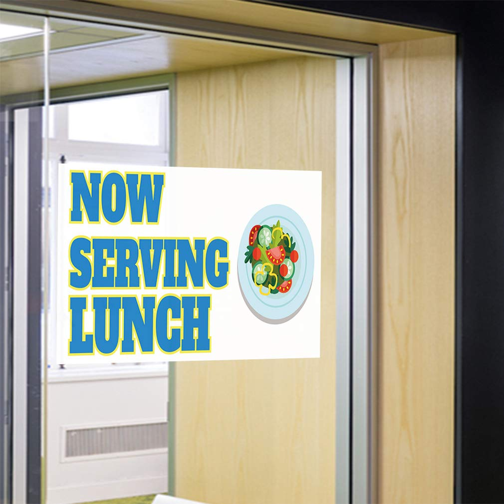 69inx46in One Sticker Decal Sticker Multiple Sizes Now Serving Breakfast #9 Business Lunch Outdoor Store Sign White
