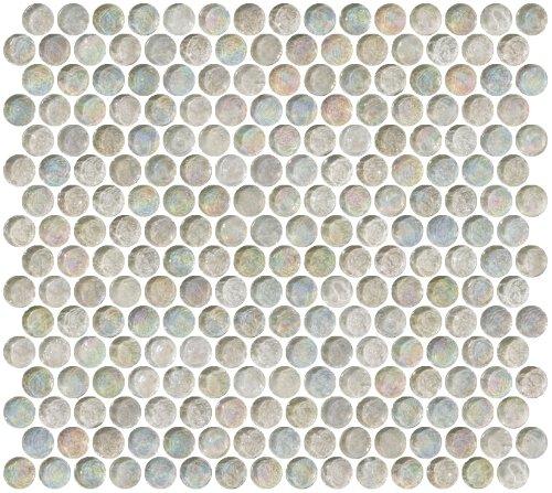 Tile Custom Mosaic (Susan Jablon Mosaics - Penny Round Clear Iridescent Glass Tile)