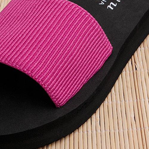 Forme pour Talon Rose Sandales nbsp;ultraléger Mid Rose d'été Muffin Chaussures JAGENIE Plate de Femme Rouge Rouge 2017 Home 39 Chausson Btxq4wPZ8