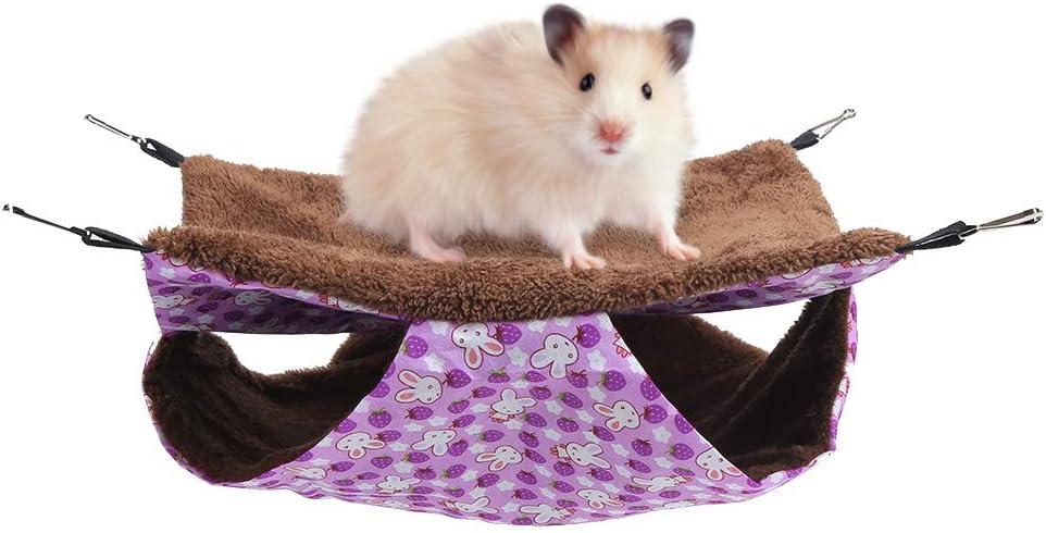 Haokaini Hamaca para Mascotas Conejo Púrpura Capa Doble Capa Intermedia Hamaca Caliente Cama Colgante Casa Saco de Dormir para Ardilla (S)