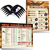 """2017 BBQ Smoking Meat Tools Gifts Set: Best Design Meat Temperature Guide and Unique Meat Smoking Time & Temperature Guide Magnets (8.5""""x11"""") by Intel Kitchen + 2 Bear Claws Meat Shredder Paws"""