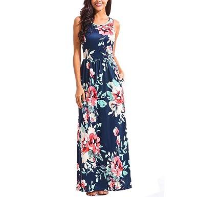 Frauen Kleid Damen Urlaub Sommers Langs Kleids Maxi Mode Strand Party Boho