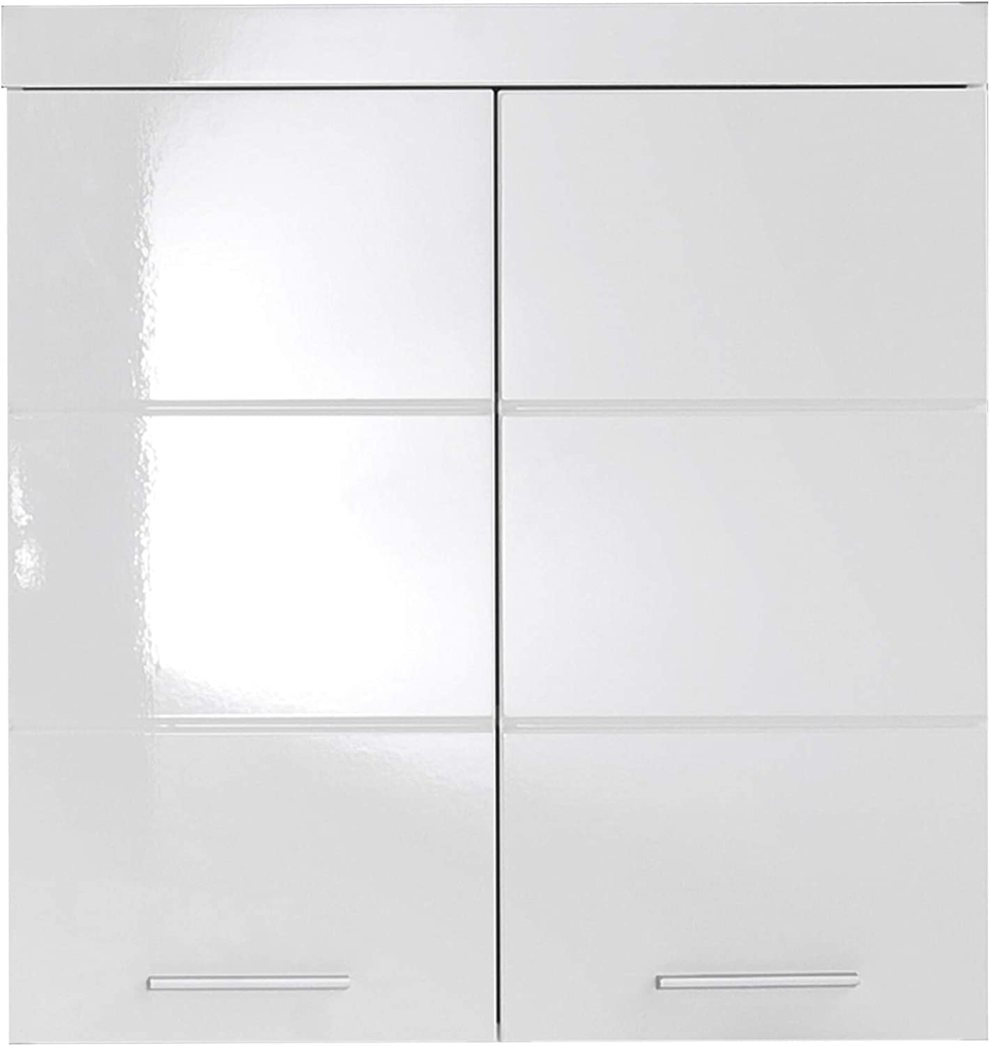 Trendteam Bathroom Wall Cabinet With Plenty Of Storage Space, Amanda, White High Gloss, 73 x 77 x 23 cm