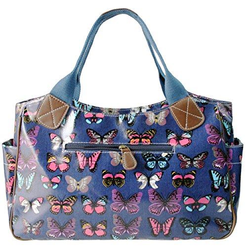 Polka Women's Owl Day Butterfly Lulu Butterfly Tote Navy Dot Flower Shopper Hand Girls Oilcloth Travel Miss Bag wXxnY14q51